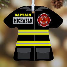personalized christmas ornaments firefighter uniform 1 sided