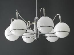 italian space age chrome ceiling l with six glass balls 1960s