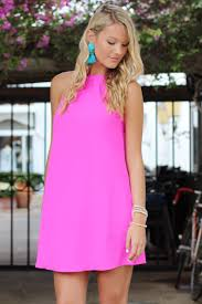 neon pink halter neck dress brittany escloset com halter