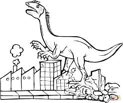 tyrannosaurus destroys city coloring page free printable