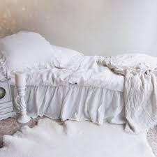 linen bed skirt dust ruffle bedskirt white linen dust