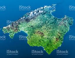 Mallorca Spain Map by Mallorca Island Topographic Map 3d View Blue Stock Photo 530748984