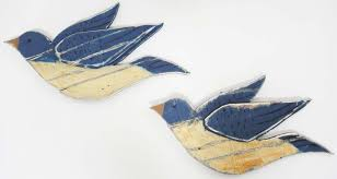 wood wall shabby chic pair of flying birds