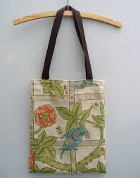 handmade tote shopper book bag handbag from vintage william morris