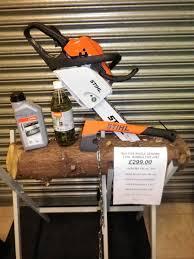 stihl ms 181 chainsaw bundle inc saw horse forestry hatchet