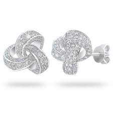 knot earrings brilliant 1 15 ctw vs2 clarity i color diamond 14kt white