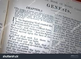 bible opened first chapter genesis creation stock photo 1894832