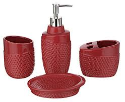 Ceramic Bathroom Accessories by Miamour 4 Piece Ceramic Bathroom Accessories Red Clickonway