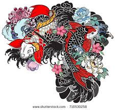 koi coloring tattoo style vector download free vector art stock