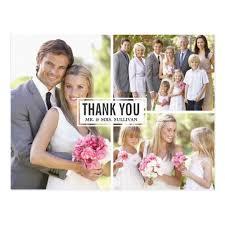 wedding thank you three photo collage wedding thank you postcard zazzle