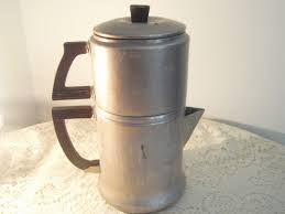 vintage percolator aluminum coffee maker campfire coffee pot
