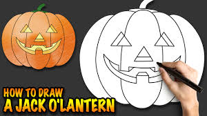 how to draw a jack o u0027lantern a halloween pumpkin easy step by