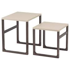 side table set of 2 rissna nest of tables set of 2 beige ikea