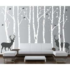 innovative stencils birch tree forest with snow birds and deer birch tree forest with snow birds and deer wall decal