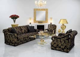 Black And Gold Living Room by Classy Living Room Design With Classic Black Yellow Floral Sofa