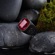 black zircon rings images Hot mens rings stainless steel jewelry biker rings red zircon jpg