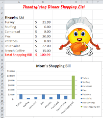 excel thanksgiving shopping chart lesson common k 5