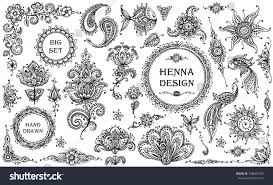 big vector set henna floral animal stock vector 348682790