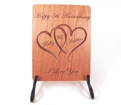anniversary engraving anniversary card 5 year anniversary wood card personalized