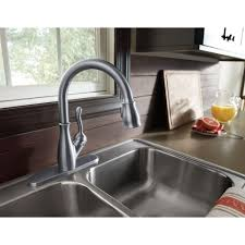 delta leland pull kitchen faucet delta faucet 9178 sp dst leland spotshield stainless pullout spray