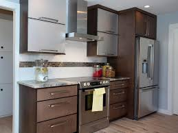 Kitchen Cabinets Small Spaces Kitchen Brown Wall Cabinets Black Chair Brown Wood Floor Black