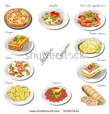 collection cuisine cuisine set collection food dishes stock vector 551643844