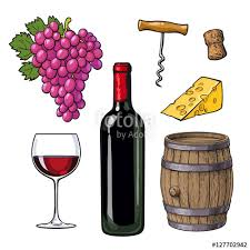 wine set of bottle glass barrel grapes cheese cork and