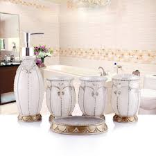 White Bathroom Accessories Set by Aliexpress Com Buy Hand Crafted Pearl White Set Of 5 Pc Resin