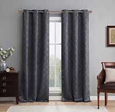 Charcoal Grey Blackout Curtains Amazon Com Hlc Me Lattice Thermal Room Darkening Energy Efficient