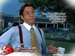 Office Space Boss Meme - wearing braces without a jacket in public indoors styleforum