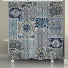 persian patchwork blue shower curtain from laural home