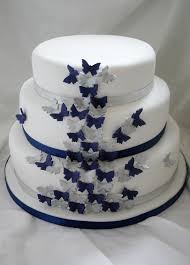 navy and silver butterfly wedding cake three tier sponge c u2026 flickr