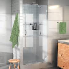 glass door in bathroom 24 in x 78 in frameless glass hinged shower door in chrome door