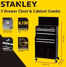 stanley tool chest cabinet new stanley 24 5 drawer tool storage combo with riser bidclub