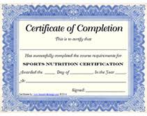 sports nutrition certification certificate printable templates