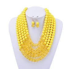 wholesale beaded necklace images Wholesale n12235 yellow beaded necklace earrings set yiwuproducts jpg