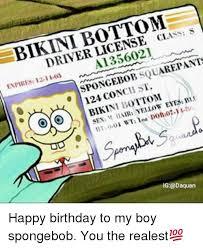 Birthday Sex Meme - class s driver license squarepants spongebob 03 12 1 enpires bikin