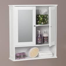 Carre Bathroom Mirror  Door Wall Cabinet White Painted Finish - Bathroom cabinet mirrored 2