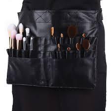 makeup artist belt black two arrays makeup brush holder professional pvc apron bag
