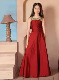 red taffeta silk modern gown with mirror work for kids girls