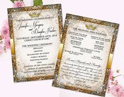 gold wedding programs vintage fairytale program faity tale wedding program princess