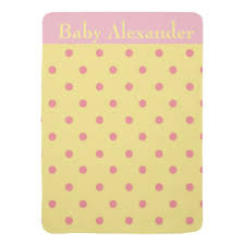 yellow polka dots custom baby blankets zazzle