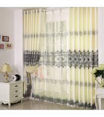 Long White Curtains High Quality Polyester Luxury Yellow Gold Curtains