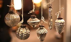 set of 6 mercury glass baubles