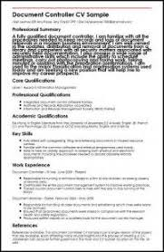 Document Controller Resume Sample by Sample Curriculum Vitae Document Controller Cover Letter Job