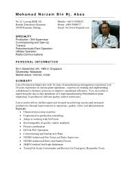 Personal Dossier In Resume Norzam Resume