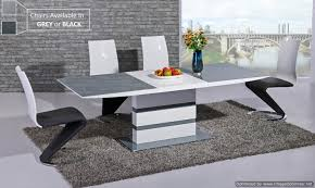 High Gloss Extending Dining Table Lorgato Grey High Gloss Extending Dining Table 160cm To 220cm