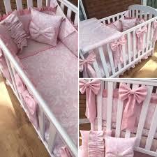 Baby Bedding Set Luxurious Pink And Damask Bespoke Baby Bedding Set India