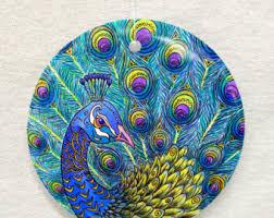 peacock ornament etsy