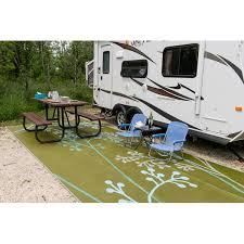 Patio Area Rug B B Begonia Fernando Reversible Rv Camping Patio Mat In Blue Green